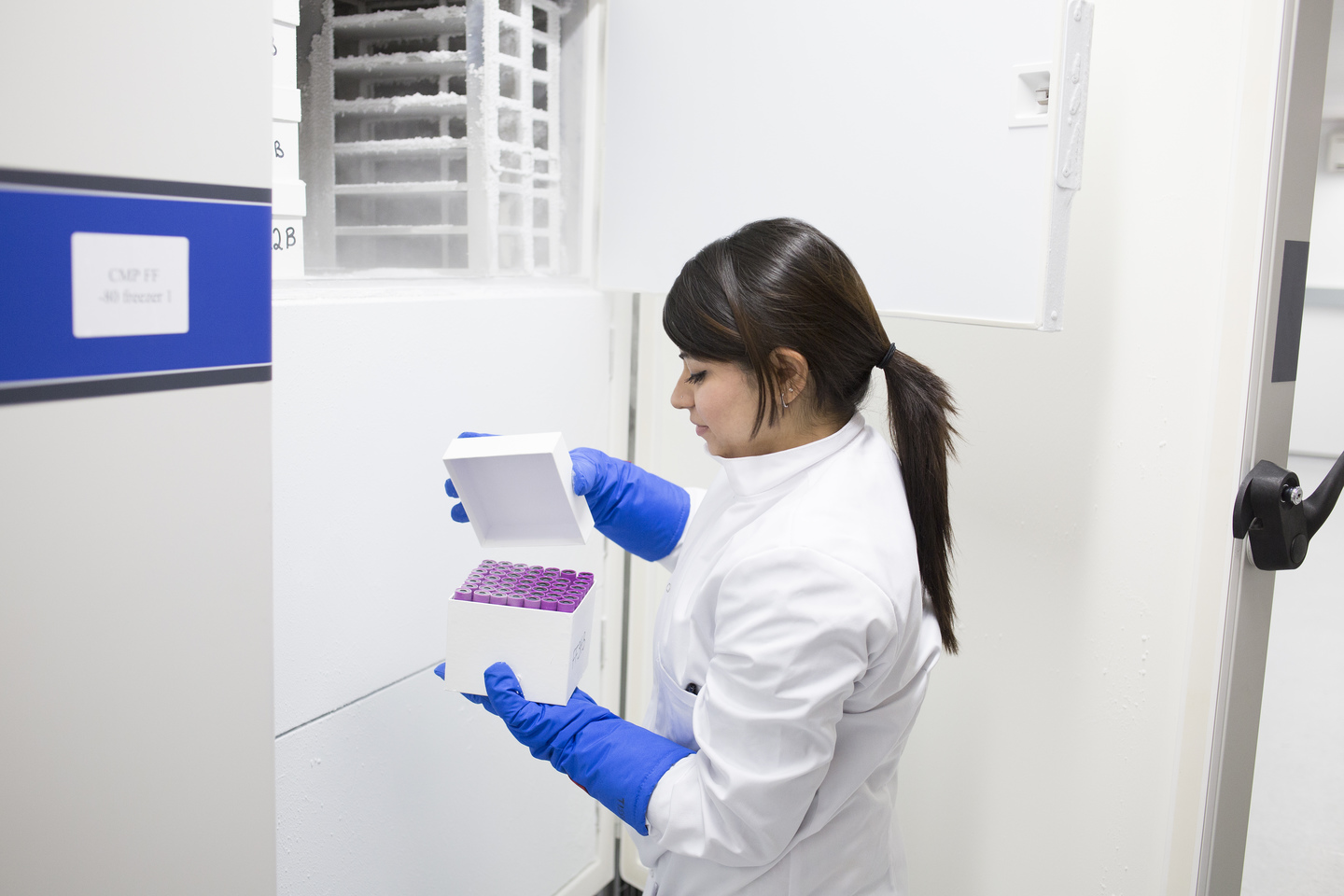 Researcher taking a sample from a freezer