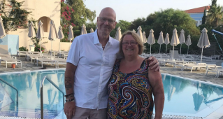 Royal Marsden patient Ruth Joy with her husband