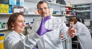 Dr Marco Gerlinger and Dr Louise Barber in the lab. Photo credit: ICR