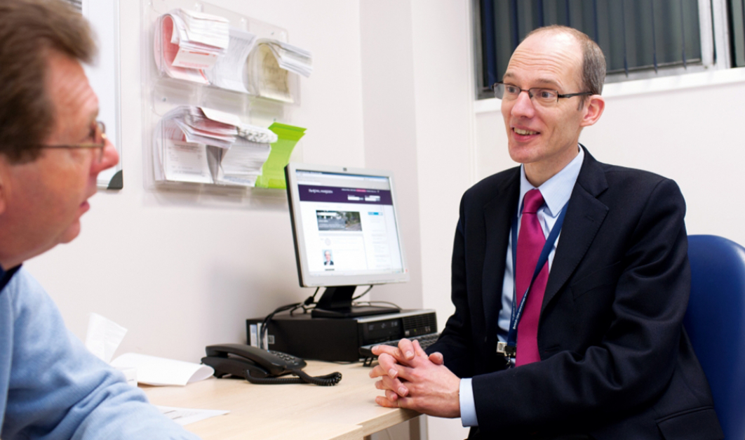Dr Chris Parker, Consultant Clinical Oncologist, with a patient