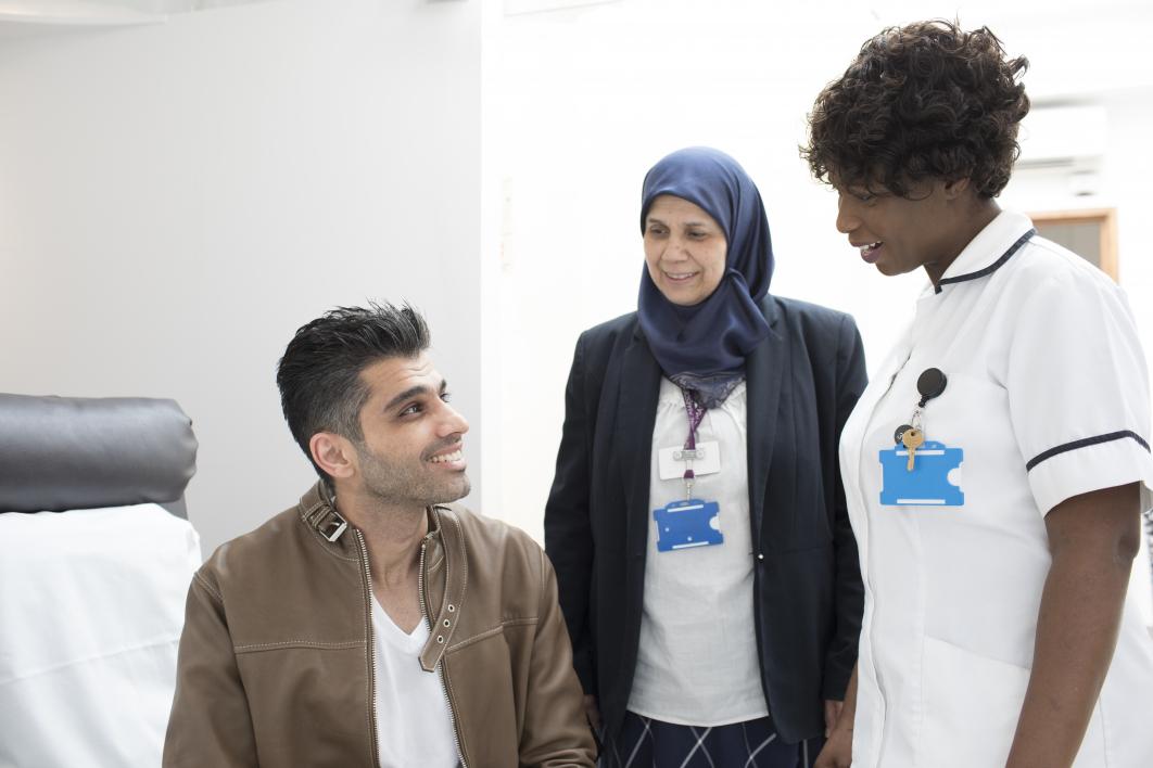 Nurses with a patient