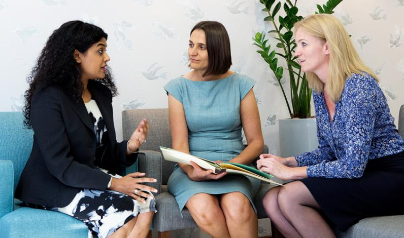 Dr Susie Banerjee, Dr Susan Lalondrelle and Dr Alex Taylor, consultants at The Royal Marsden's Gynaecology Unit